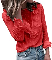 FarJing Women Casual Lace Polka Dot O Neck T-Shirt Long Sleeve Tops Blouse