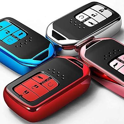 121Fruit Way for Honda Key Fob Cover, Key Fob Case for Honda Accord Civic CRV Pilot Odyssey Smart Premium Soft TPU Full Cover Protection Smart Remote Keyless Key Fob Shell, Pink: Automotive