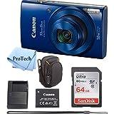 Canon PowerShot ELPH 190 IS Blue Digital Camera 64GB Card Bundle