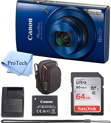 Canon PowerShot ELPH 190 IS Blue Digital Camera 64GB Card Bundle