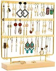 QILICZ - Soporte para joyas, soporte para pendientes, 69 agujeros, organizador para joyas, joyas, expositor de joyas, 32 x 27 cm, pendientes, árbol de joyas, color negro dorado