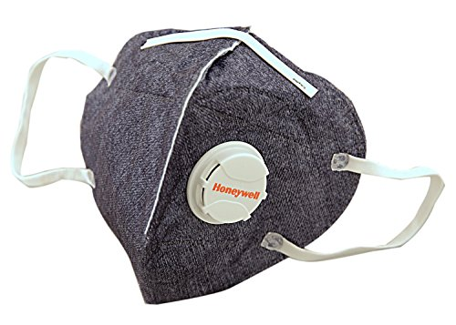 Honeywell PM 2.5 Anti Pollution Foldable Face Mask with Easy Exhalation Valve, Dark Blue Printed,...