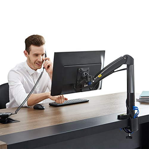 North Bayou Monitor Desk Mount Stand Fully Adjustable Computer Monitor Arm for 22'' -35'' Monitor with Gas Spring
