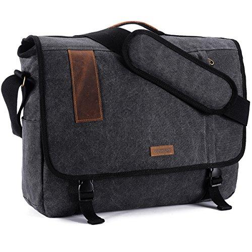 17.3 Inch Laptop Messenger Bag, Vintage Canvas Shoulder Bag for Men by VONXURY (Land Collection Leather)