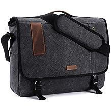 17 Inch Laptop Messenger Bag, Vintage Canvas Shoulder Bag For Men by VONXURY