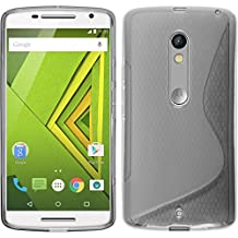 PhoneNatic Silicone Case for Motorola Moto X Play S-Style gray - Cover + protective foils
