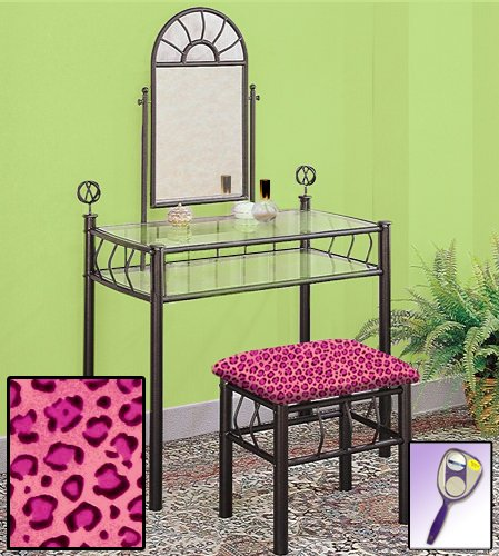New Black Metal Sunburst Make Up Vanity Table with Mirror & Pink Cheetah Animal Print Themed Bench (Set Glass Table Dressing Pink)