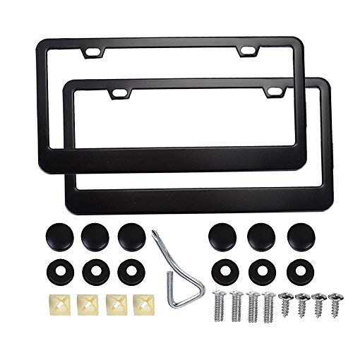 (Baird Stone License Plate Frame, Stainless Steel 2-Hole Black Car License Plate Cover 2 PCS with Bolts Caps Washer for US Standard)