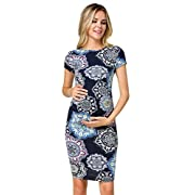 My Bump Women's Maternity Bodycon Causual Short Sleeve Mama Dress(Made in USA) (X-Large, Navy/Pink SKAA)