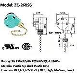 Ceiling Fan Switch Zing Ear ZE-268S6 Pull Chain
