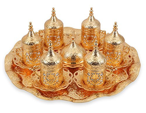 Traditional Design Brass Cast Turkish Greek Armenian Arabic Coffee Set Espresso Set Tea Set for Six-(CS6-208)