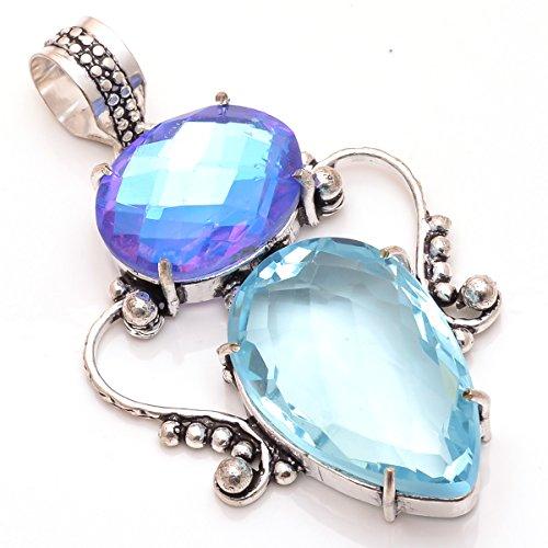 Lavie International Inc 925 Sterling Silver Overlay Pendant, Blue Topaz Quartz Gemstone Handmade Fashion Jewelry (Blue Quartz Pendant)