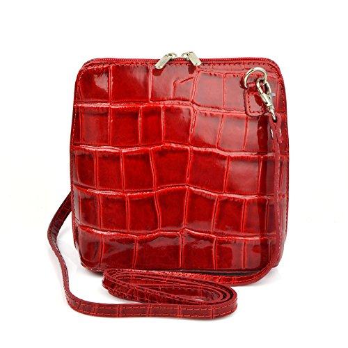 b6d2aaf674068 Vera Pelle Handtaschen Italien Echt Leder Schultertasche Frauen Damen  Tasche Handtasche Ital Bag Rot Lack Crock
