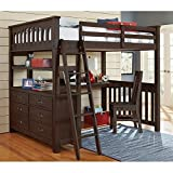 NE Kids Highlands Full Loft Bed with Desk in Espresso