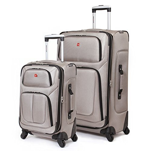 Delsey Lightweight Duffel (SwissGear 2 PC Spinner Wheel Black Suitcase Set - Softshell & Lightweight (Pewter))