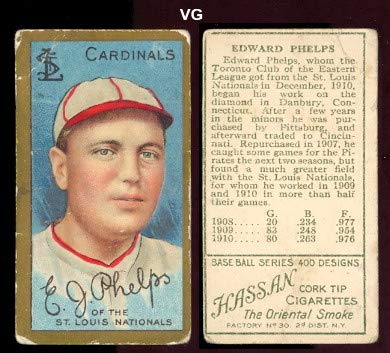 1911 t205 tobacco (baseball) Card# 158 e.j. phelps of the St. Louis Cardinals VG Condition ()