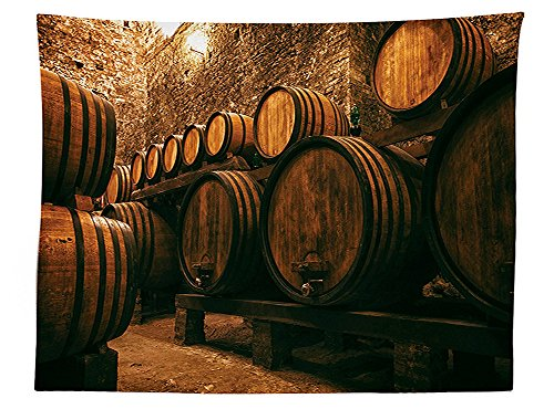 vipsung Winery Decor Tablecloth Barrels For Storage of Wine Italy Oak Container in Cold Dark Underground Cellar Dining Room Kitchen Rectangular Table (Butterfly Tie Dye Bandana)
