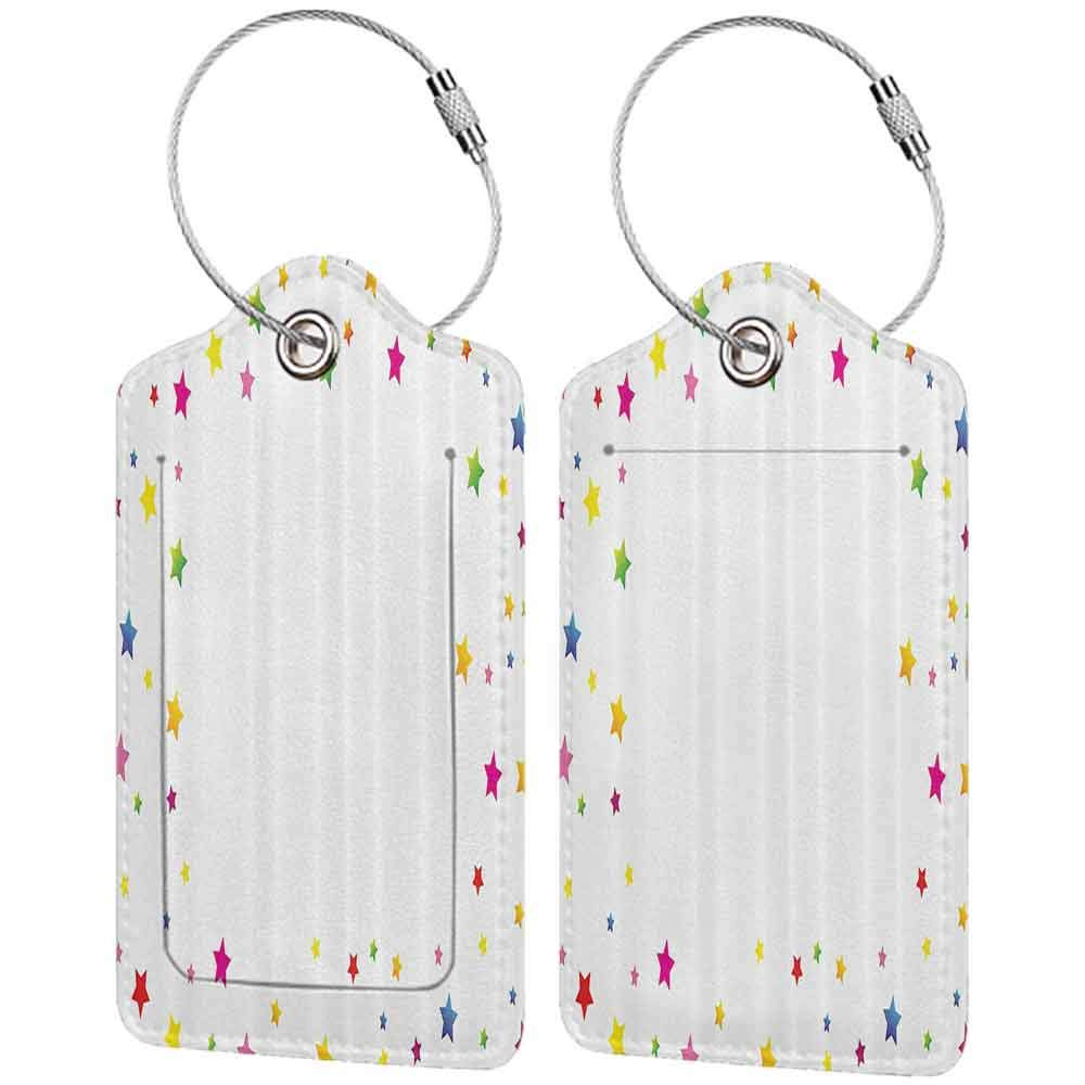 Small luggage tag Magic Home Decor Minimalist Colorful Different Size Uneven Stars Design On Plain Background Artwork Quickly find the suitcase Multi W2.7 x L4.6