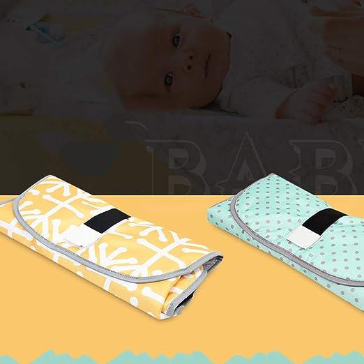 Pañal portátil Cambio de patrón de la estación de Moda plegable del cojín conveniente el cambio de pañales para bebés recién nacidos lactantes-amarillo: ...