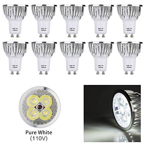 Iarr 10pcs pack 110v 4w gu10 pure white led bulbs standard size iarr 10pcs pack 110v 4w gu10 pure white led bulbs standard size recessed lighting aloadofball Images