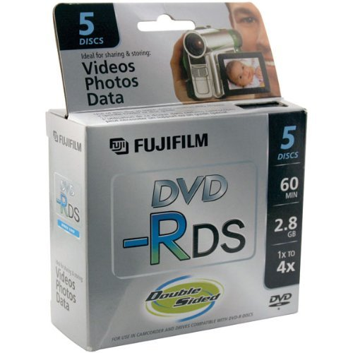 Fujifilm Media 25302910 DVD-R Camcorder 2.8GB 60 Minutes Double Sided Jewel HT - 5 Pack