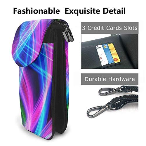 Hdadwy mobiltelefon crossbody väska färgglada vågor kvinnor PU-läder mode handväska med justerbar rem