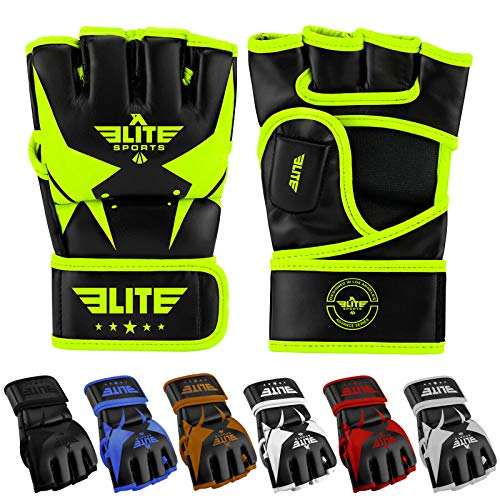 Elite Sports Essential Pro Style MMA Half Mitts Gloves (Green/Black, -