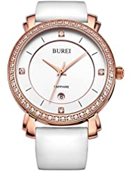 BUREI Womens Business Casual Wrist Watches Rose Gold Diamond Bezel with White Leather Strap Mothers day