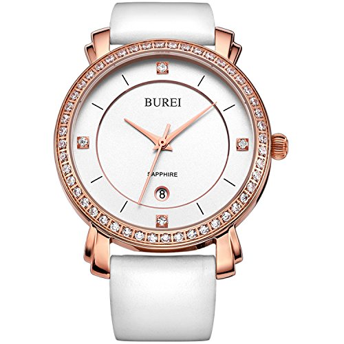 BUREI Women's Business Casual Wrist Watches Rose Gold Diamond Bezel with White Leather Strap Mother's Day