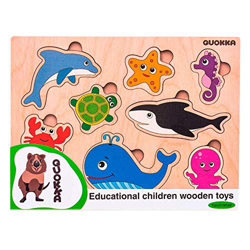 Quokka Toddlers Wooden Peg See-Inside Sea Creatures Puzzle. Sturdy Classic Peg Puzzle Shapes. Set for Kids 2-4 years. Developmental Toy for Baby. Excellent wooden jigsaw puzzles for logical thinking.