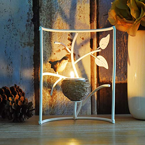 (Marbrasse Metallic Votive Candle Holders, Decorative TeaLight Candle Stands for Table, Vintage Home Decor Centerpiece Features Bird, Nest and Tree (White))