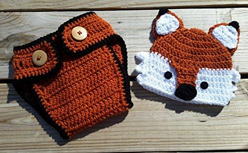 Newborn Fox Hat w/ Matching Diaper Cover (Cute And Creative Costumes)