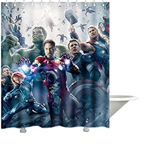 "Artsadd Comic Mavel Avengers Pattern 5 Custom Waterproof Fabric Shower Curtain Standard Size Size 60""x 72"" by Artsadd"