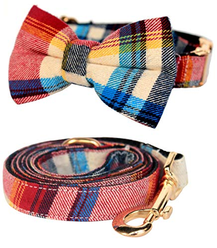 csspet Red and Blue Plaid Cat and Dog Collar Bow Tie and Leash Set, Handmade Dog Bow tie Necklace for L Large Dog Cat ()