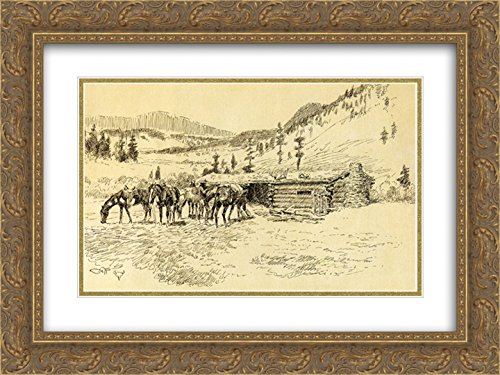 Charles M. Russell 2x Matted 24x18 Gold Ornate Framed Art Print 'Where I Learned the Diamond Hitch - The Old Hoover Ranch on the South Fork of the Judith - Hoover Galleria