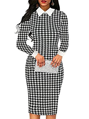 oxiuly Women's Retro Bodycon Knee-Length Formal Office Dresses Pencil Dress OX275