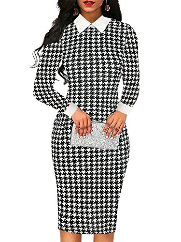 (oxiuly Women's Long Sleeve Shirt Collar Spring Fall Stretch Patchwork Business Party Cocktail Pencil Sheath Slim Midi Dress OX275 (XL, Black Houndstooth))