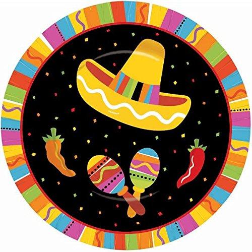 Amscan Fiesta Fun Cinco de Mayo Party Round Dessert Plates (8 Piece), Multi Color, 7 x (Fiesta Dessert)