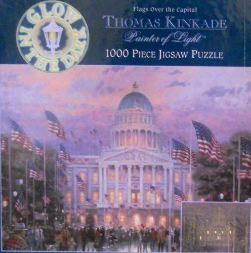 Thomas Kinkade Flags Over The Capital 1000 Piece Jigsaw Puzzle Glow In The Dark