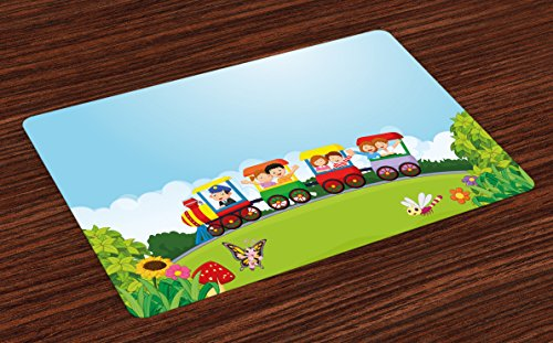 Lunarable Train Place Mats Set of 4, Happy Passenger Boys and Girls in Wagons on Hill with Lively Nature in a Summer Day, Washable Fabric Placemats for Dining Room Kitchen Table Decor, Multicolor Diner Passenger Set