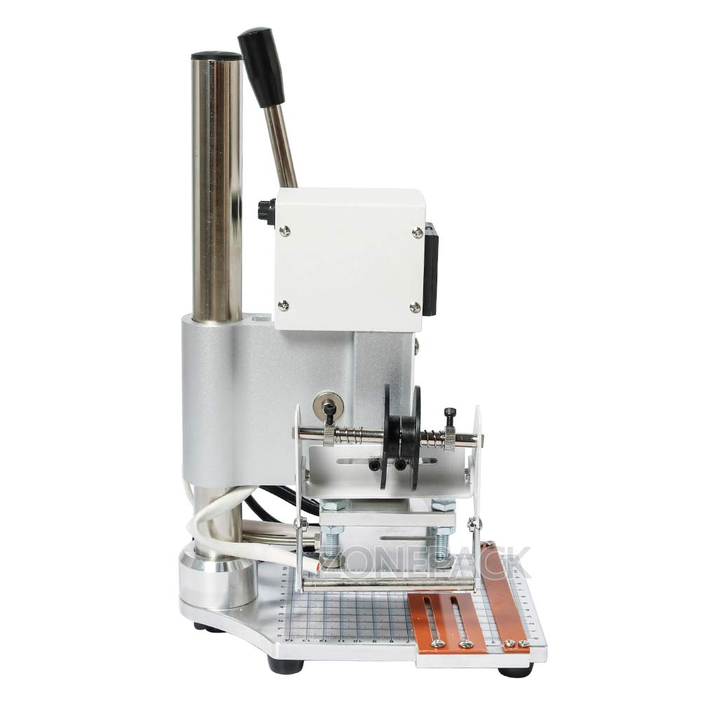 ZONEPACK Hot Foil Stamping Machine 810cm Digital Embossing Machine Manual Tipper Stamper for PVC Leather Pu and Paper Stamping with Paper Holder by ZONEPACK (Image #2)