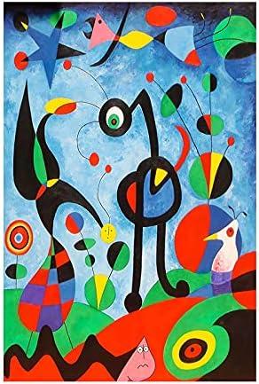 """Impresiones en lienzo Arte de la pared Pinturas abstractas Pintura famosa El jardín 1925 de Joan Miro Cuadros para decoración del hogar 50x75cm (19""""x30"""") Sin marco"""