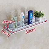 Space aluminum kitchen rack bathroom accessories free punch toilet 1-story single-tier Towel rack towel rack from nails hair dryer (Punch) widened tray 60 cm