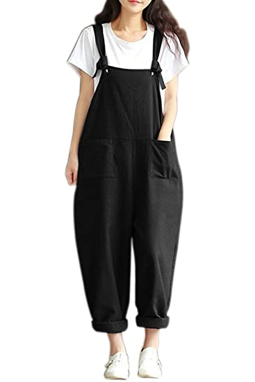 3a409eaf690 BOZEVON Women Retro Loose Casual Baggy Sleeveless Wide Legs Long Jumpsuit  Pockets Trousers Dungarees  Amazon.co.uk  Clothing