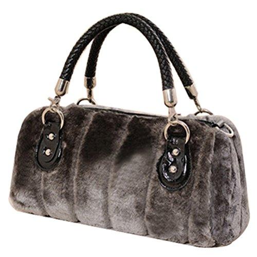 Abuyall Women Faux Fur Baguette Evening Party Bag Crossbody Bag Handbag Design Cute Gifts Winter Warm Shoulder Bag Drawstring Bucket Bag Mini Fluffy Casual Bag B