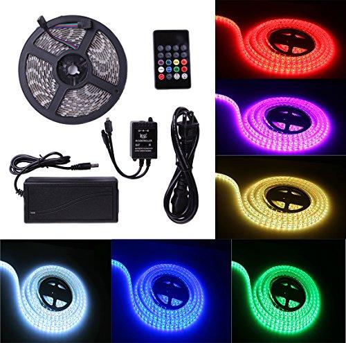 Music Control LED Strip Lights 16 Colors & 5050 Epoxy Flexible RGB Lights Belt Waterproof Durable Lights 16.4FT/5M LED Lights Strip 300 LED Lights IR controller & 12V 5A - 16 Self Stick