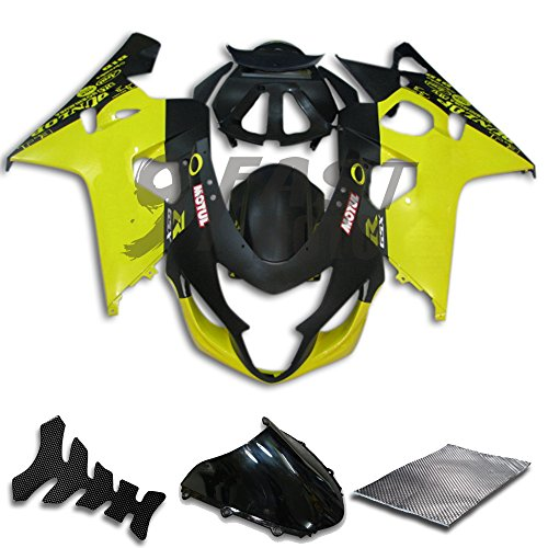 9FastMoto Fairings for suzuki 2004 2005 GSX-R600 GSX-R750 K4 04 05 GSXR 600 750 K4 Motorcycle Fairing Kit ABS Injection Set Sportbike Cowls Panels (Yellow & Black) S0867