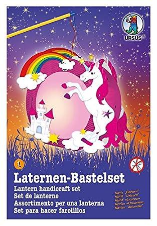 ohne ausschneiden 21,8 x 21 x 10,3 cm ca Laternen Bastelset Einhorn bunt Ursus 18710001