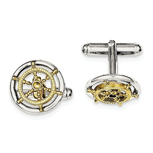 14k Solid Cufflinks - Sterling Silver Solid Textured Polished Gold-tone Sailor Wheel Cuff Links