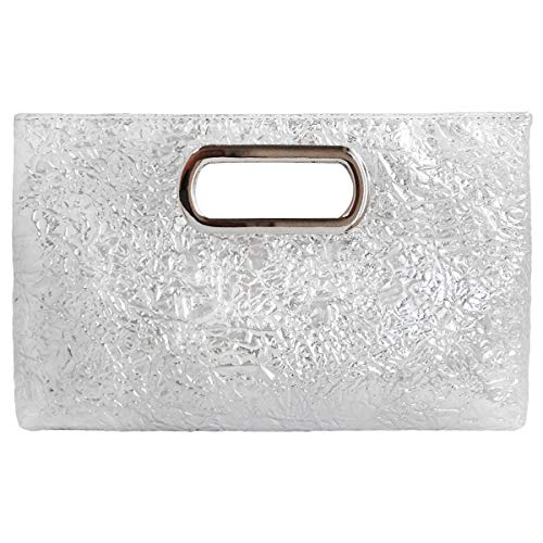 Crushed Metallic Top Handle Clutch